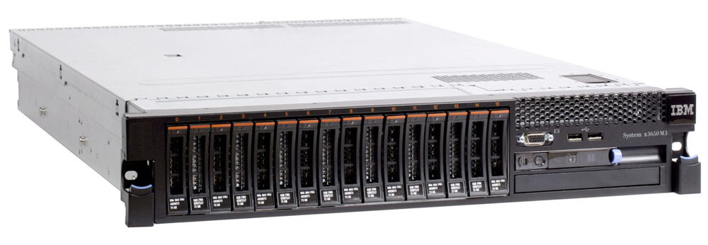Сервер IBM x3650 M3 Server   Rack 2U, 1xXeon 6C E5649 (2.53GHz/1333MHz/12MB), 1x4GB 1.35V RDIMM, noHDD HS 2.5in SAS/SATA (16up), no DVD, M5014 w/o batt (256Mb, raid0/1/10/5/50), 2xGbE, 460W HS PS (up2)