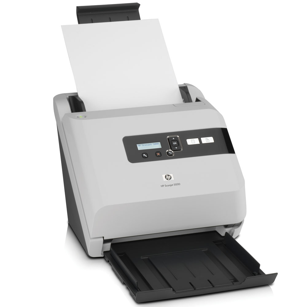Сканер HP Scanjet 5000 Sheetfeed Scanner (216x864 mm, 600x600dpi, 48bit, USB, LCD, ADF 50 sheets, 25(50)ppm, Duplex, card feeder for business cards, replace L1980A)