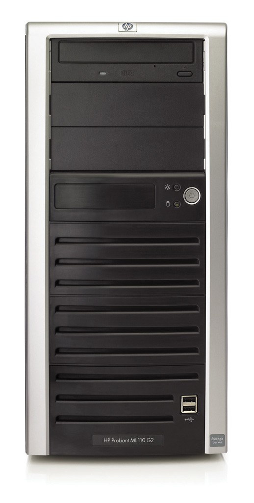 NAS сервер HP ProLiant ML110 Storage Server   Tower 5U P4-2.8/800MHz, 512Mb (max 4x1Gb), 4x160Gb 7200 rpm SATA, SCSI, 5/5 PCI, FDD, DVD, NIC, Windows Storage Server 2003 (SMB/CIFS, NFS, NCP, AppleTalk, HTTP, FTP protocols)