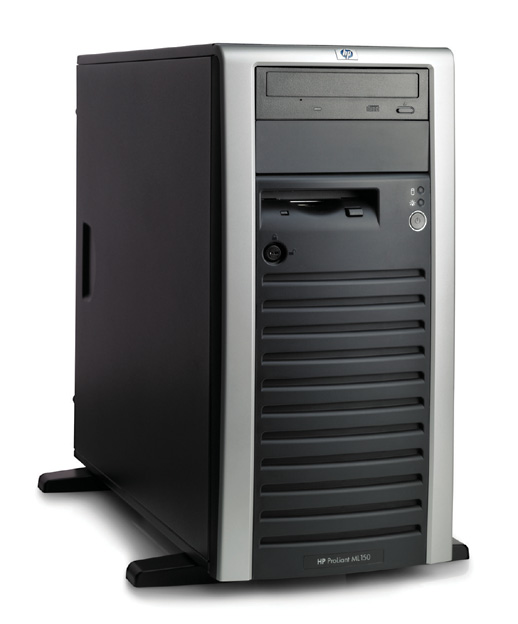 Сервер HP ProLiant ML150 G2 Server XeonDP-2.8/2Mb/800MHz,   512Mb PC2700/333MHz, 72Gb 10000 rpm Ultra320-SCSI (max. 6x146.8Gb), HotPlug, 6/5 PCI, CD, FDD, Gigabit NIC