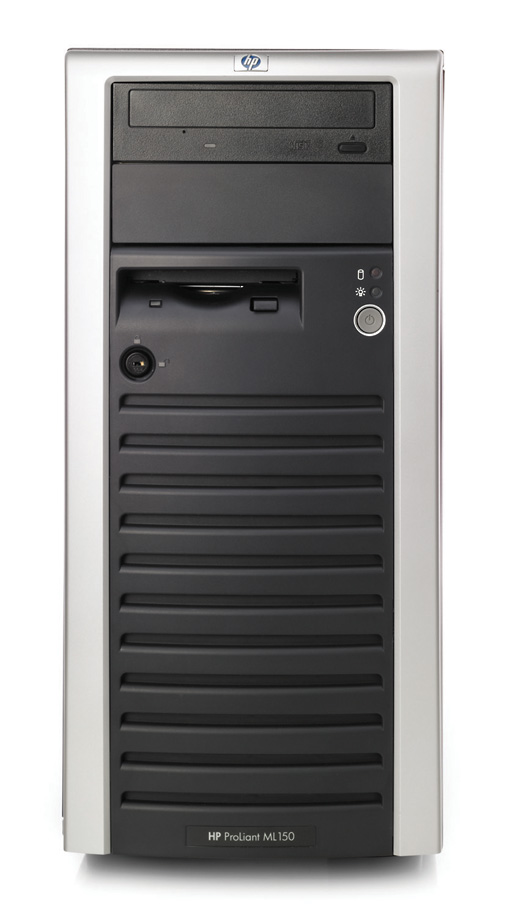 Сервер HP ProLiant ML150 G2 Server XeonDP-2.8/1Mb/800MHz,   512Mb PC2700/333MHz, SATA (max. 4x250Gb), HotPlug, 6/5 PCI, CD, FDD, Gigabit NIC