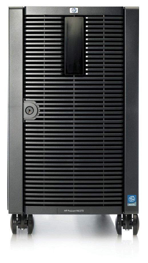 Сервер HP ProLiant ML570 G3 Server Tower XeonMP-3.0/8M/667MHz, 1Gb PC2-3200R/400MHz, Ultra320-SCSI (max. 8x300Gb+2x300Gb), HotPlug, 10/10 PCI, DVD, noFDD, Dual Gigabit NIC