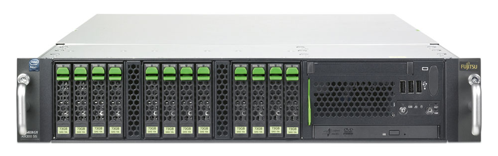 Сервер Fujitsu PRIMERGY RX300 S5 Server Xeon DP E5504 - 2.00GHz, 2Gb DDR3-1066, 8x2.5-inch hotplug backplane, SATA RAID 0/1, MultiDVD, 1xhotplug power supply, hot plug fans, 2xLAN