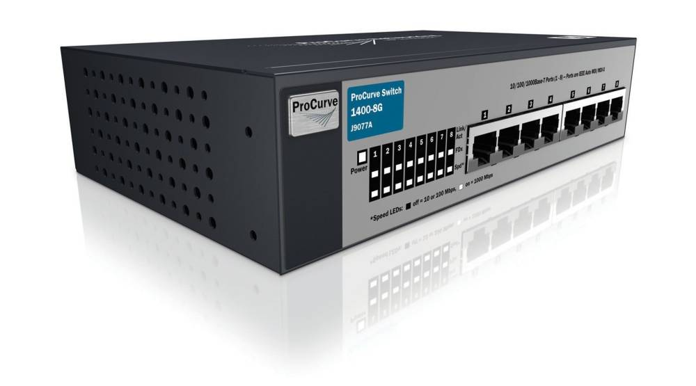 Коммутатор HP ProCurve Switch 1400-8G (8 ports 10/100/1000, Unmanaged, Fanless design, desktop)