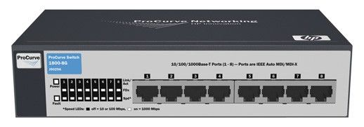 Коммутатор HP ProCurve Switch 1800-24G   (22 ports 10/100/1000 +2 10/100/1000 or 2Gbics, WEB-Managed, Fanless design, Stackable 19')