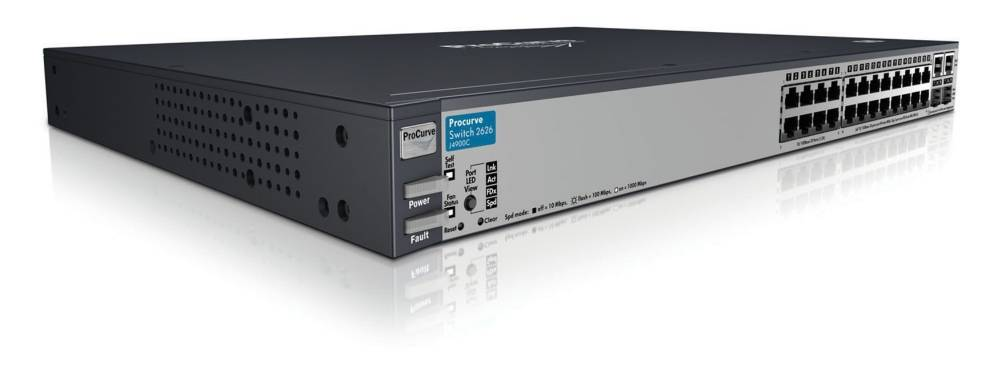 Коммутатор HP ProCurve Switch 2626 1U (24x10/100, 2 ports 10/100/1000 or mini-GBIC, 9.6Gb/s)