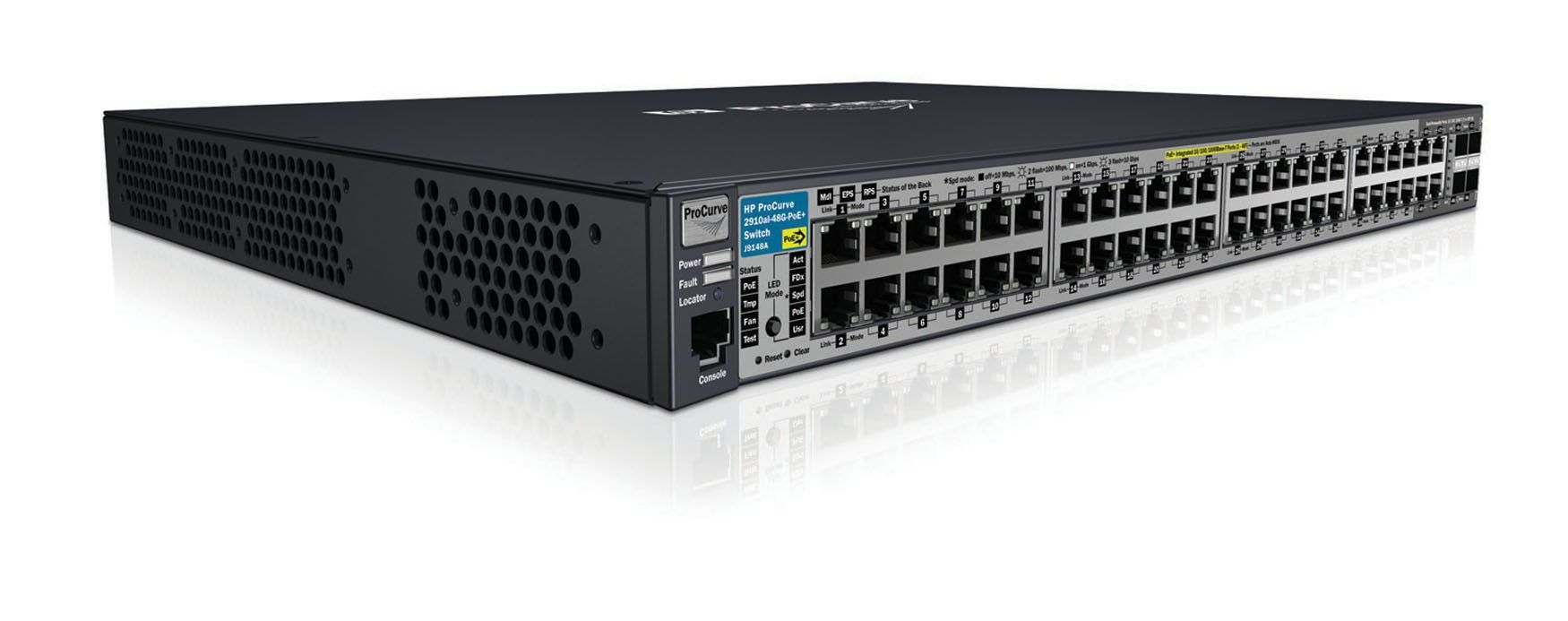 Коммутатор HP Procurve 2910al-48G-PoEal Switch (44 ports 10/100/1000 PoE+, 4 10/100/1000 PoE+ or SFP, 4 10-GbE opt., Managed, Layer 3 static, Stackable 19')(repl. for JE063A)