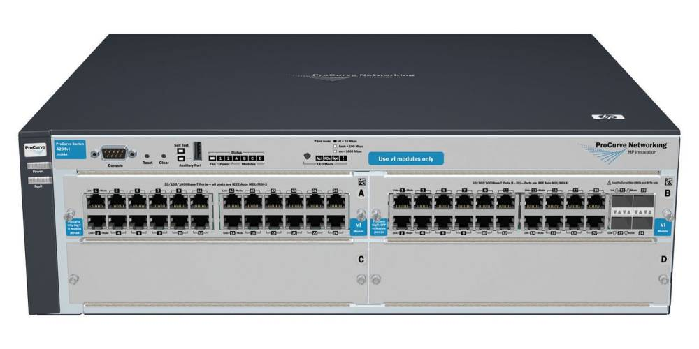 Шасси HP ProCurve Switch 4204vl-48GS   4-slot chassis (Managed, Layer 3 static, 2 open slots+1x24-port GigEth+1x20-port GigEth and 4 SFP modules, Stack 19')
