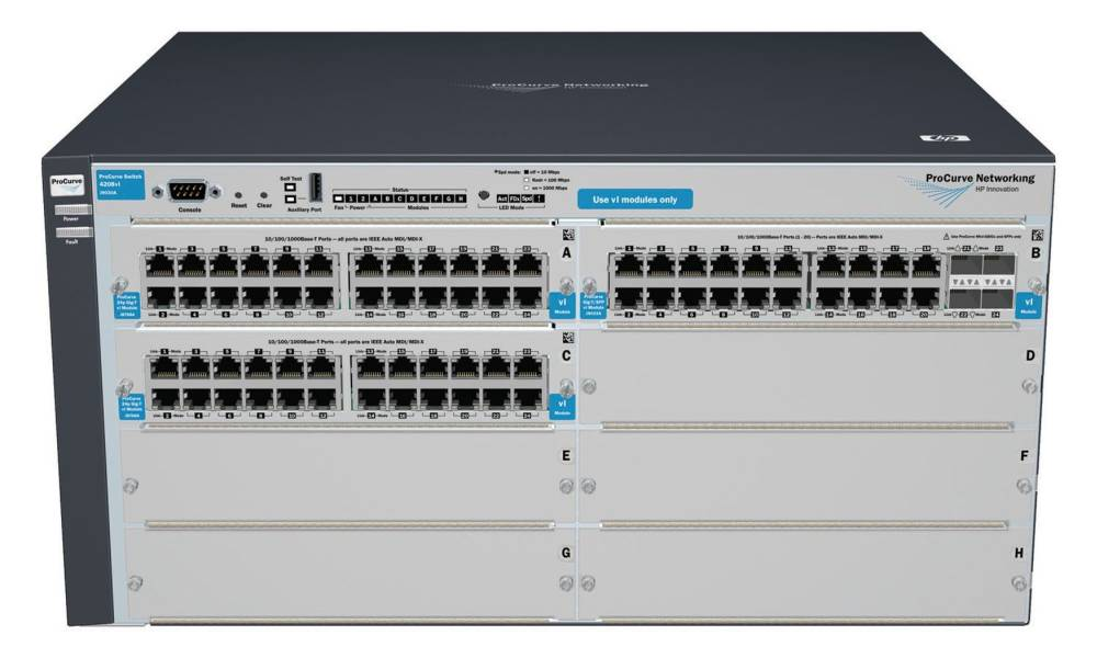 Шасси HP ProCurve Switch 4208vl-72GS   4-slot chassis (Managed, Layer 3 static, 5 open slots+2x24-port GigEth+1x20-port GigEth and 4 SFP modules, Stack 19')