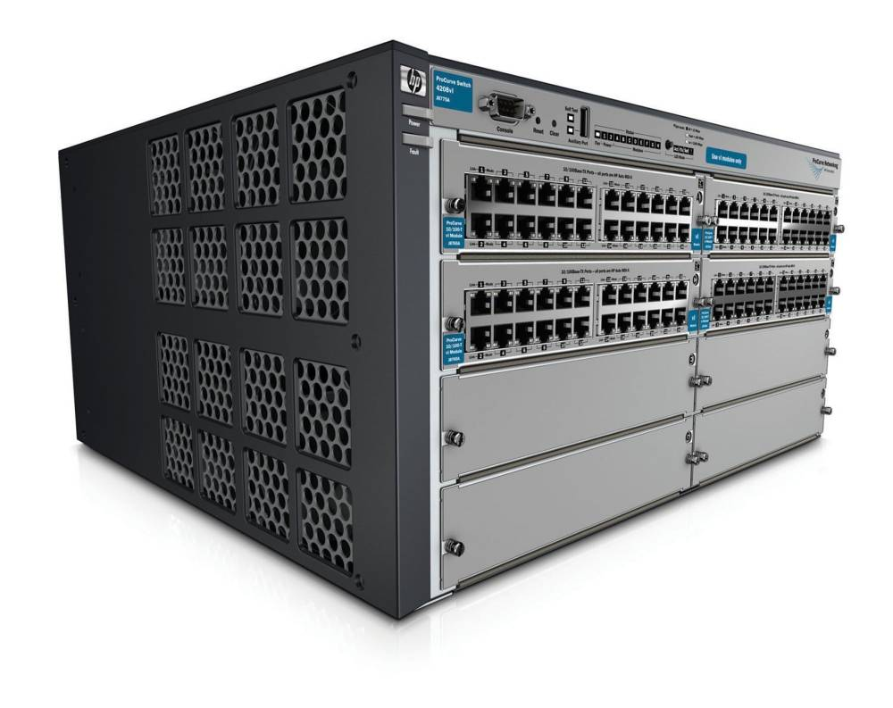 Шасси HP ProCurve Switch 4208vl-96 8-slot chassis (Managed, Layer 3 static router, 4 open slots + 4x24-port 10/100-TX modules, Stackable 19')