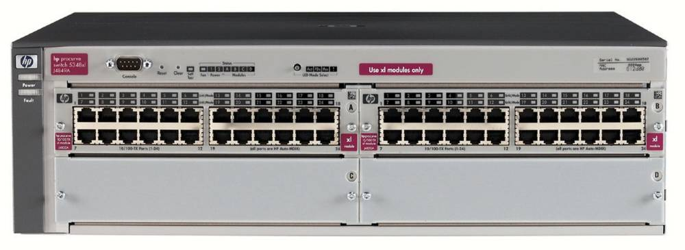 Шасси HP Procurve Switch 5348xl   3U (2 slots 24x10/100, 2 open slots, 38.4Gb/s)