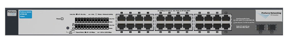 Коммутатор HP ProCurve Switch 1700-24 (22 ports 10/100 +2 10/100/1000 or 2Gbics, WEB-Managed, Fanless design, 19')