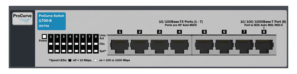 Коммутатор HP ProCurve Switch 1700-8 (7 ports 10/100 + 1 port 10/100/1000, WEB-Managed, Fanless design, desktop)