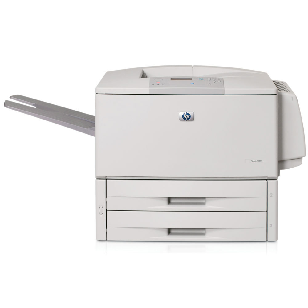 Черно-белый лазерный принтер HP LaserJet 9050dn (A3, 600 dpi, 50ppm, 128Mb, 3trays 2*500+100, Parallel/LAN/2*EIO, Duplex, replace C8521A)