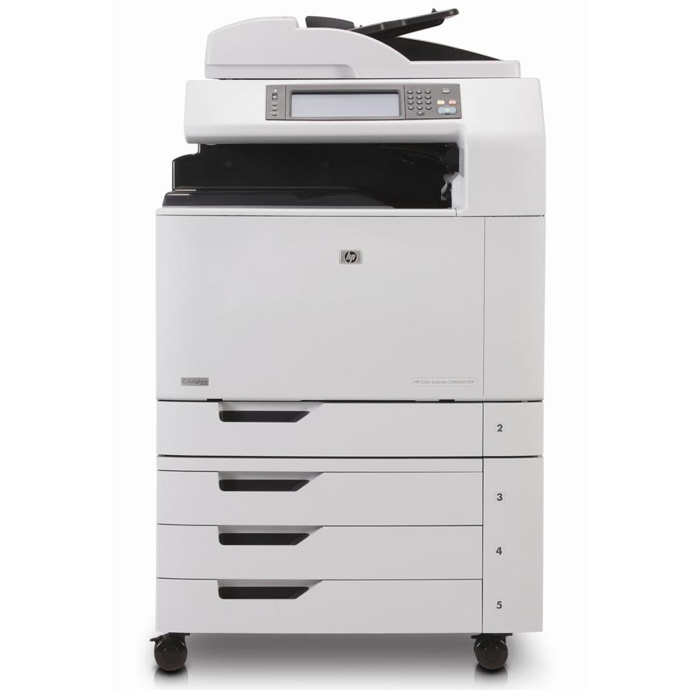 Цветное лазерное МФУ HP Color LaserJet CM6040 MFP (p/s/c, A3, 3trays 500*2+100, output tray 500, 40/40ppm(A4), Duplex, ADF50, 1200x1200dpi, 512MB, 80Gb, USB/EIO/FIH/LAN/PCI-E, PS)