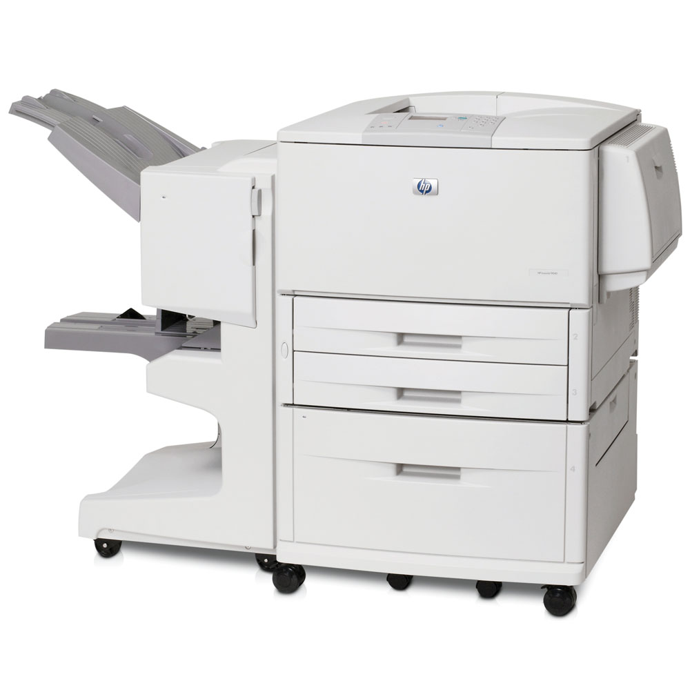 Черно-белый лазерный принтер HP LaserJet 9040dn (A3, 600dpi, 40ppm, 128Mb, 3trays 2*500+100, Parallel/LAN/2*EIO, Duplex, replace C4267A)