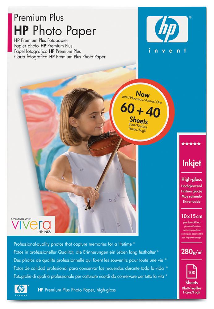 HP Высокоглянцевая фотобумага высшего качества,10 х 15 см 280 г/м2,с отрывным ярлычком, 100 листов