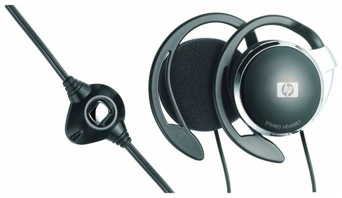 HP Stereo Headset , cable, over the ear, double, 28mm driver unit size, Regular Condenser Mic, 3.5mm plug, Volume Control
