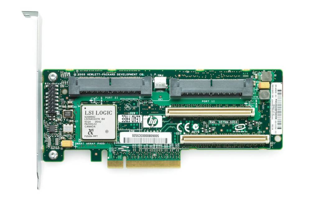 Контроллер HP Smart Array P400/256Mb Supports RAID 0/1/5 (8 link: 2 int x4 wide port connectors SAS) PCI-E