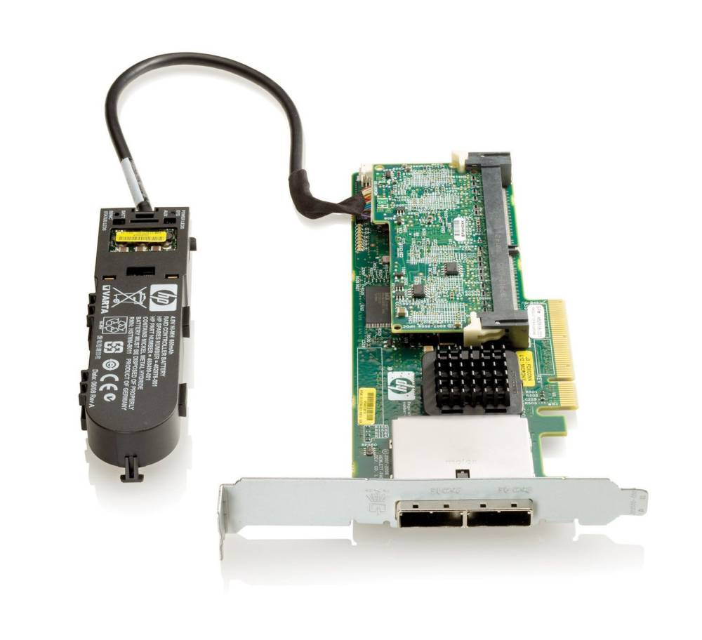 Контроллер HP Smart Array P411/512 MB with BBWC Controller RAID 0,1,1+0,5,5+0 (8 link: 2 ext (SFF8088) ports SAS) PCI-E x8, incl. h/h and f/h. Brckts