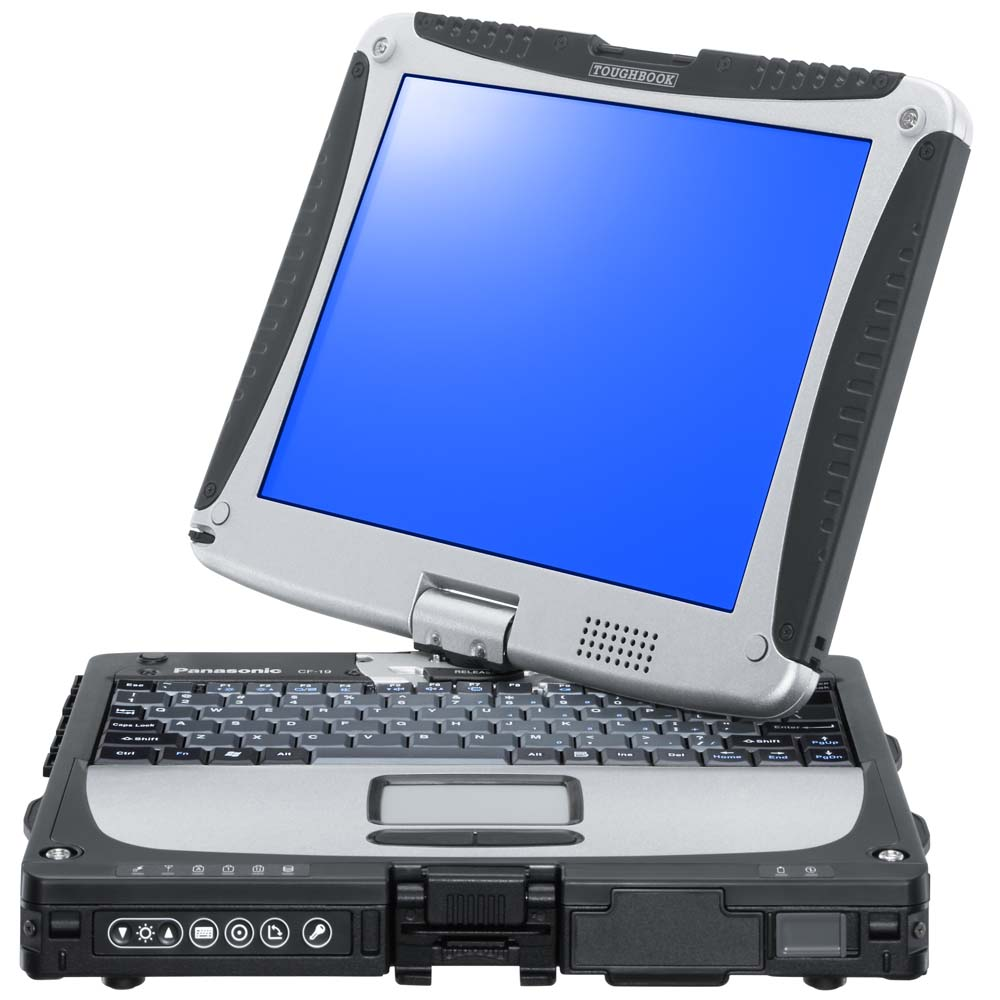 Ноутбук защищенный Panasonic Toughbook CF-19 Intel Core i5 processor 540UM 1.20GHz Smart Cache 3MB FSB 800MHz; RAM 2048MB PC3-8500 DDR3 SDRAM; HDD 160Gb; Display 10.4-inch TFT(1024x768) XGA with Touch-screen Convertible to Tablet PC; Intel QM57 Express Chipset with HD Graphics integrated video controller up to 1024MB (UMA) VRAM; 56K V.92 modem; Gigabit Ethernet; Touch Pad; Wireless 802.11b/g; Bluetooth; SD slot; Li-Ion battery; Windows 7 Professional