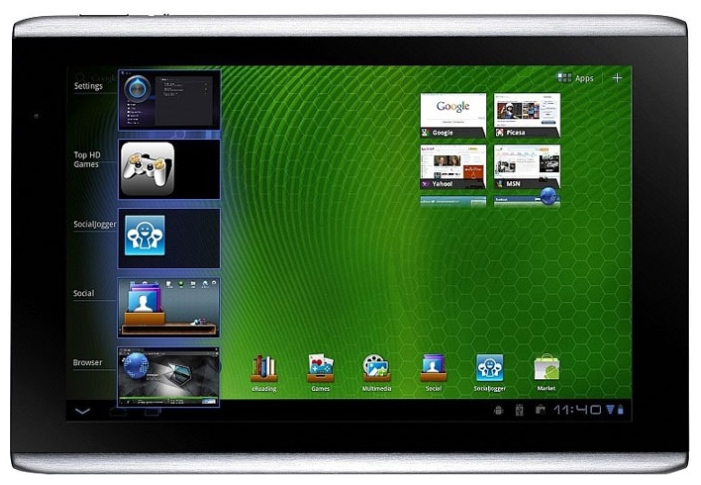 Планшет ACER ICONIA Tab A501 10-inch (1280x800), Nvidia Tegra 250 Dual cortex A9 (1GHz), Shared 1Gb, 32Gb, 3G, WiFi, BT, Cam, Android 3.0, silver, 0.73kg
