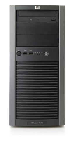 Сервер HP ProLiant ML310 G4 Server Tower Xeon 3050 DualCore 2.13Ghz/2Mb, RAM 1x1Gb, SAS/SATA HotPlug Drive Cage (max 4 LFF HDD), 8ch SAS HBA with RAID (0/1), CD,  noFDD, Gigabit NIC, iLO2