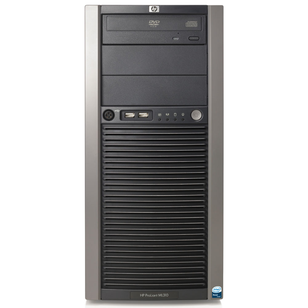 Сервер HP ProLiant ML310 G5p Server Q9400 pluggable SATA RPS (Tower 2.66GhzQuadCore(6Mb), 1x1Gb, 4ch SATA RAID(0,1), noLFFHDD(4), DVD noFDD, 2xGigEth, iLO2Std, 2xRPS)