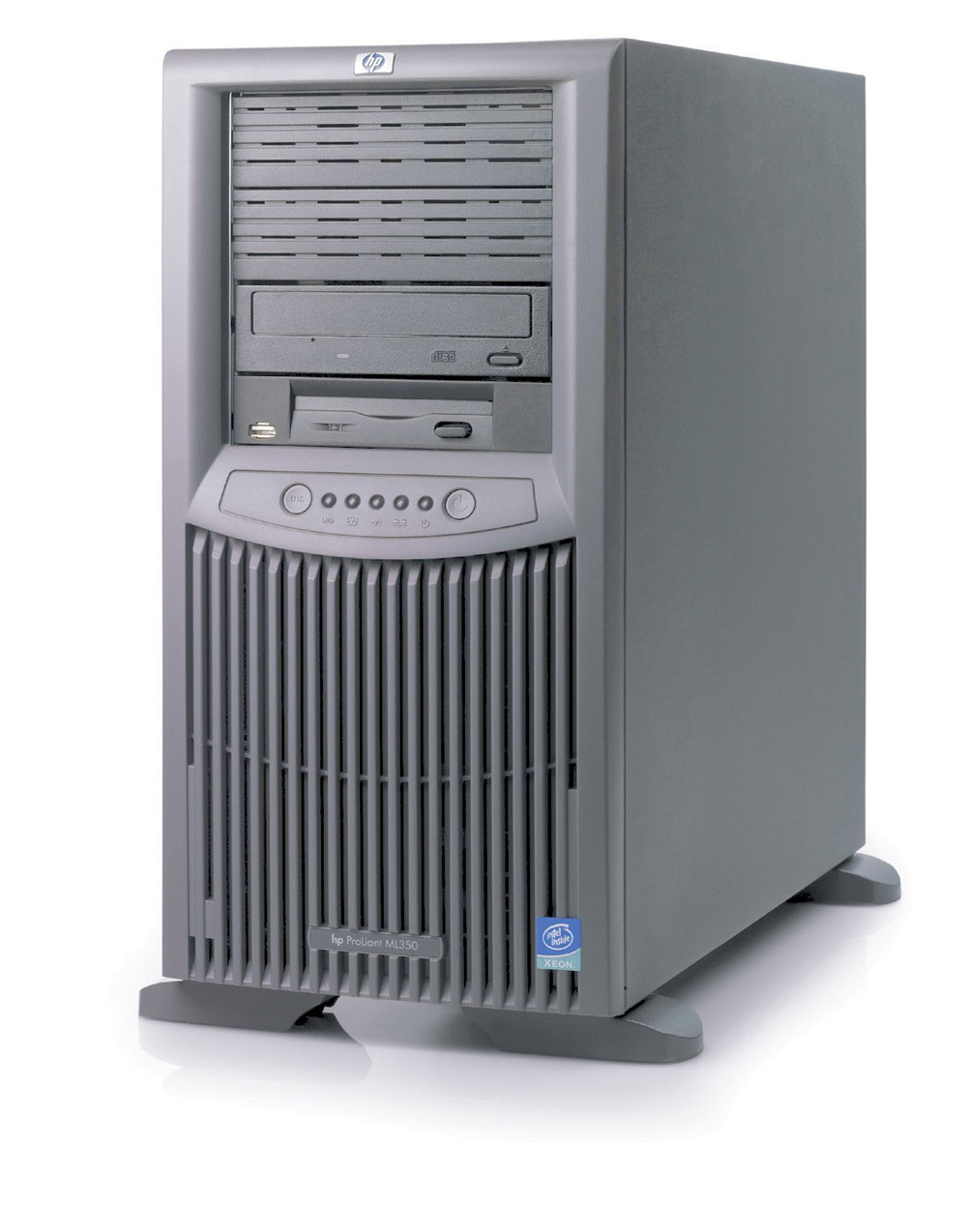 Сервер HP ProLiant ML350 G4p Server Rack XeonDP-3.2/2Mb/800MHz,   1Gb PC2-3200/400MHz, Ultra320-SCSI (max. 6x300Gb+2x300Gb), SA641, HotPlug, 6/6 PCI, CD, FDD, Gigabit NIC