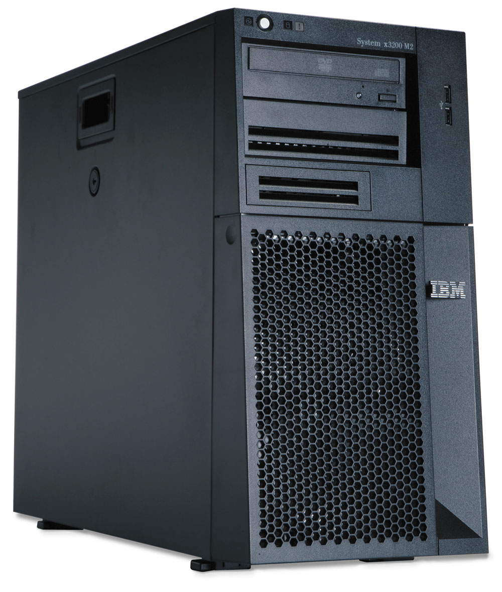 Сервер IBM System x3200 M2 Tower; Intel Xeon X3320 2.50 Ghz QuadCore Processor with L2 cache 6MB FSB 1333MHz; RAM 2x512MB PC2-5300 DDR2 SDRAM ECC; 5 x 3.5-inch slim bay; HDD 2 x 250GB 7200K rpm Simple-Swap SATA; Integrated SATA/SAS controller; Power 1 x 400 Watt; Multiburner; No FDD; Gigabit Ethernet