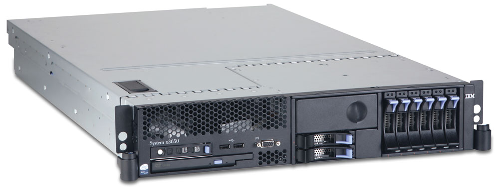 Сервер IBM System x3650;   Rack 2U; Quad-Core Intel Xeon Processor E5410 2.33GHz L2 cache 12MB FSB 1333MHz; RAM 2x2048 MB PC2-5300 DDR2 SDRAM ECC; 8 x 2.5  Hot Swap bay; HDD Open Bay; Integrated SAS controller; ServeRAID 8K; 1 x Power 835 Watt Hot-swap; Multiburner drive; no FDD; Dual Gigabit Ethernet integrated